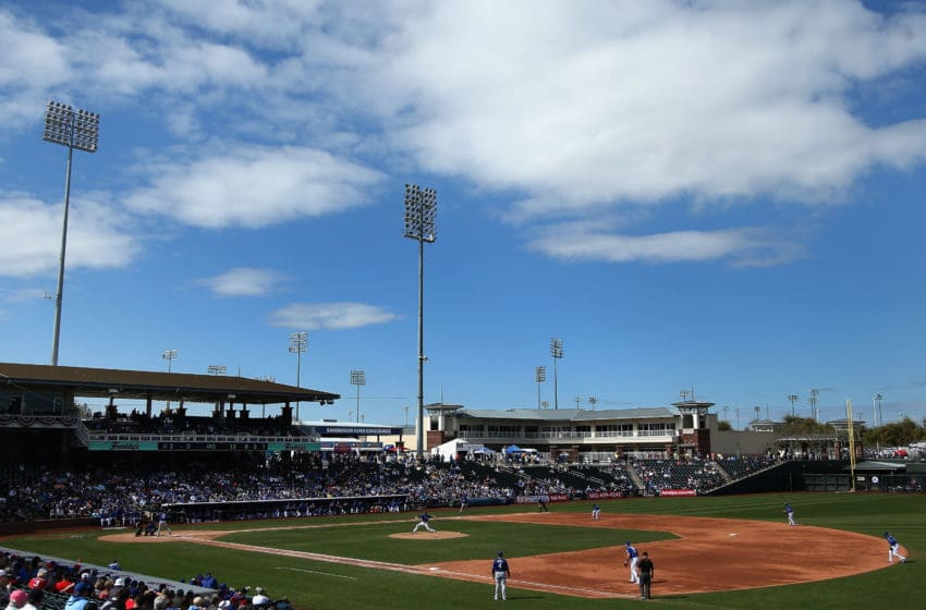 SURPRISE, AZ - FEBRUARY 26: General view of action during the spring training game between the Kansas City Royals and Texas Rangers at Surprise Stadium on February 26, 2017 in Surprise, Arizona. (Photo by Christian Petersen/Getty Images)