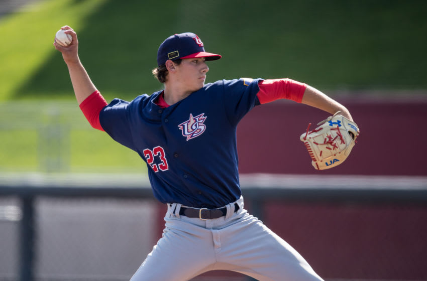 Texas Rangers prospects Cole Winn and Ricky Vanasco were added to the club's 60-man player pool (Photo by Brace Hemmelgarn/Getty Images)