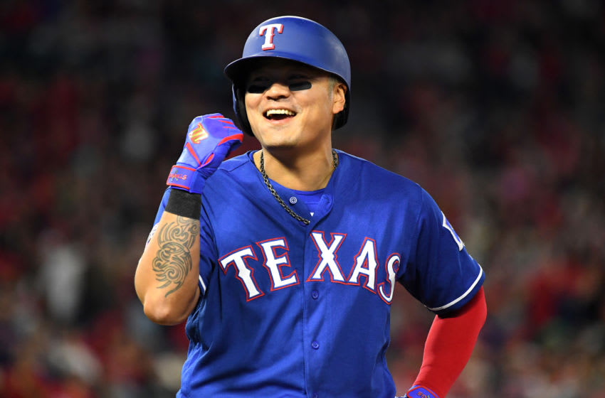 ANAHEIM, CA - APRIL 05: Shin-Soo Choo #17 of the Texas Rangers smiles while on first base during the game against the Los Angeles Angels of Anaheim at Angel Stadium of Anaheim on April 5, 2019 in Anaheim, California. (Photo by Jayne Kamin-Oncea/Getty Images)