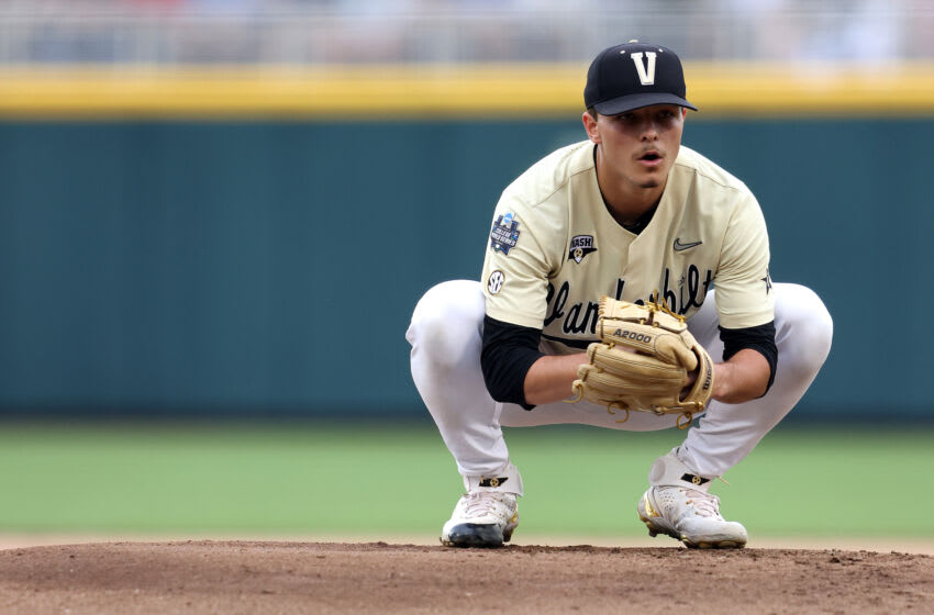 OMAHA, NEBRASKA - JUNE 28: Jack Leiter #22 of the Vanderbilt Commodores pitches in the first inning during game one of the College World Series Championship against the Mississippi St. Bulldogs at TD Ameritrade Park Omaha on June 28, 2021 in Omaha, Nebraska. (Photo by Sean M. Haffey/Getty Images)