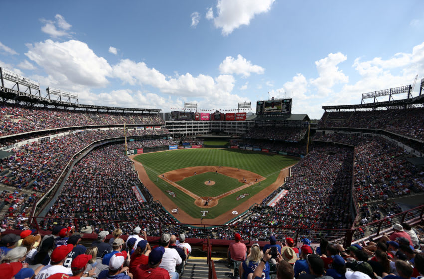 ARLINGTON, TEXAS - SEPTEMBER 29: MLB fans watch the final game at Globe Life Park in Arlington between the New York Yankees and the Texas Rangers on September 29, 2019 in Arlington, Texas. The Texas Rangers will start the 2020 season at Globe Life Field in Arlington, Texas. (Photo by Ronald Martinez/Getty Images)