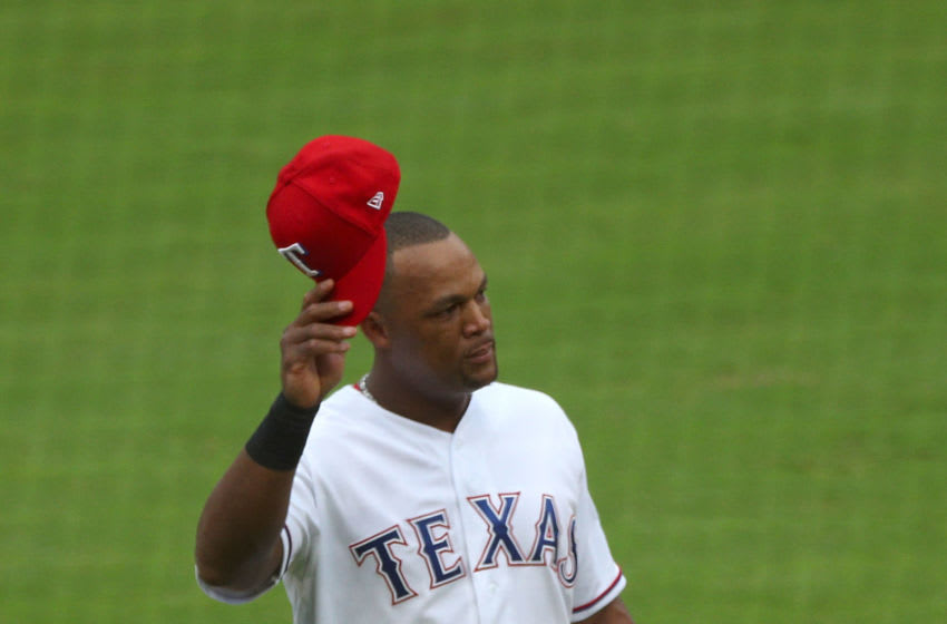 ARLINGTON, TX - SEPTEMBER 23: Adrian Beltre #29 of the Texas Rangers tips his cap to the crowd as he exits the game in the fifth inning against the Seattle Mariners at Globe Life Park in Arlington on September 23, 2018 in Arlington, Texas. (Photo by Richard Rodriguez/Getty Images)