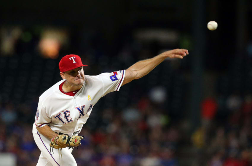 ARLINGTON, TEXAS - SEPTEMBER 13: Brock Burke #70 of the Texas Rangers pitches in the third inning against the Oakland Athletics at Globe Life Park in Arlington on September 13, 2019 in Arlington, Texas. (Photo by Richard Rodriguez/Getty Images)