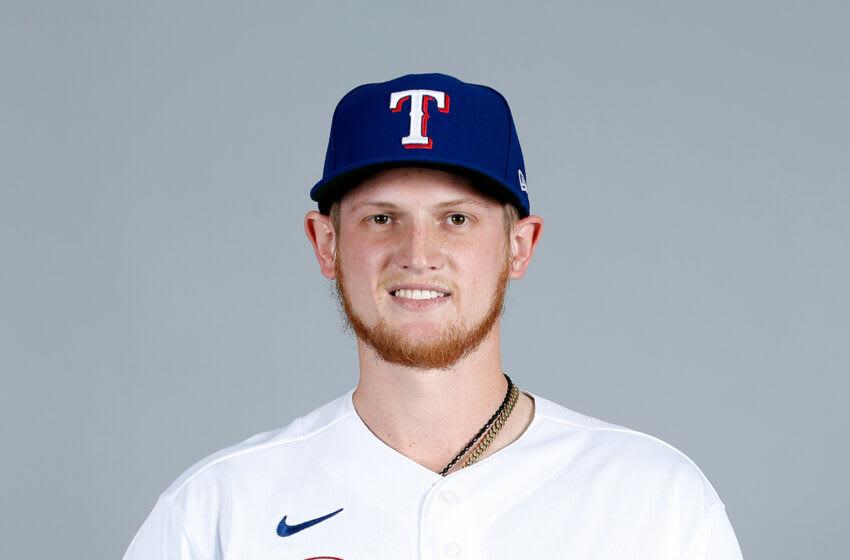 Mar 1, 2021; Surprise, AZ, USA; Texas Rangers Sam Huff #55 poses during media day at Surprise Stadium. Mandatory Credit: MLB photos via USA TODAY Sports
