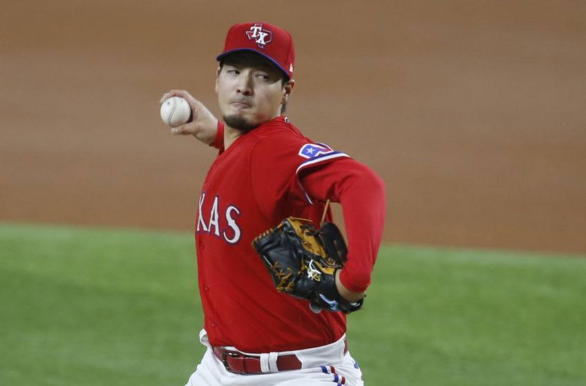 Apr 30, 2021; Arlington, Texas, USA; Texas Rangers starting pitcher Kohei Arihara (35) throws a pitch in the first inning against the Boston Red Sox at Globe Life Field. Mandatory Credit: Tim Heitman-USA TODAY Sports