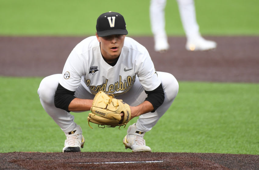 Jun 5, 2021; Nashville, TN, USA; Vanderbilt Commodores pitcher Jack Leiter (22) before the first pitch during the first inning against the Georgia Tech Yellow Jackets in the Nashville Regional of the NCAA Baseball Tournament at Hawkins Field. Mandatory Credit: Christopher Hanewinckel-USA TODAY Sports