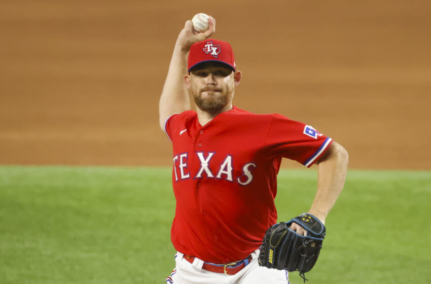 Jul 9, 2021; Arlington, Texas, USA; Texas Rangers relief pitcher Ian Kennedy (31) throws during the ninth inning against the Oakland Athletics at Globe Life Field. Mandatory Credit: Kevin Jairaj-USA TODAY Sports