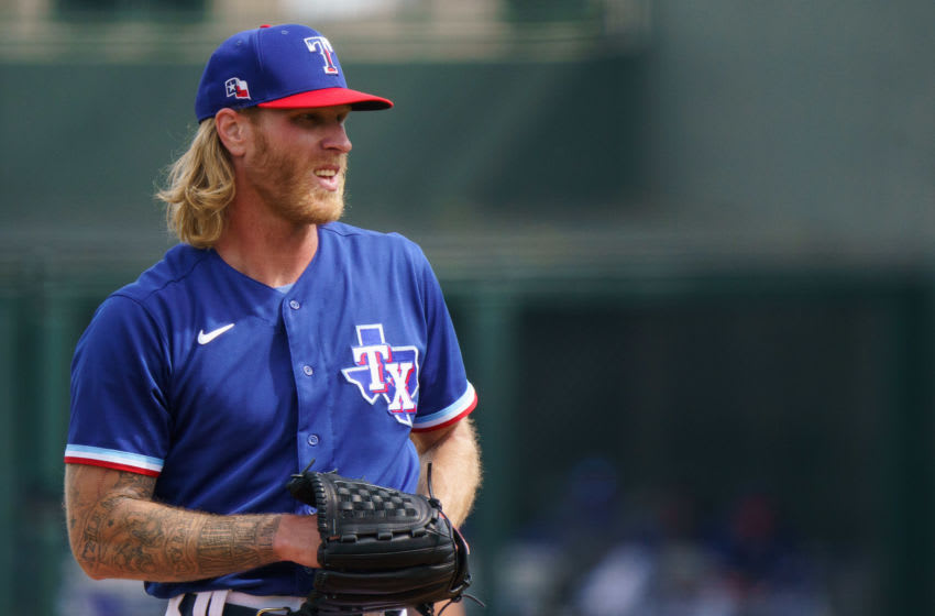 Mar 7, 2021; Surprise, Arizona, USA; Texas Rangers pitcher Mike Foltynewicz (20) on the mound in the second inning against the Los Angeles Dodger at Surprise Stadium. Mandatory Credit: Allan Henry-USA TODAY Sports