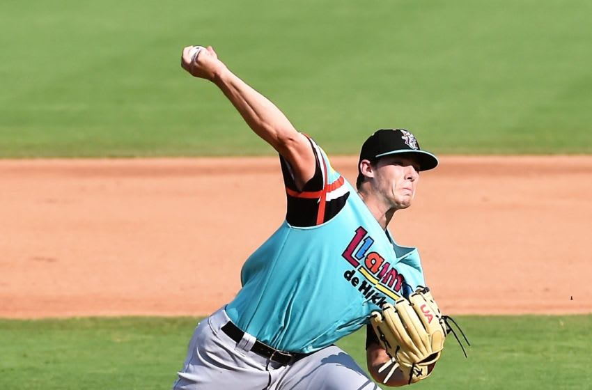 Hickory Crawdads pitcher Cole Winn throws the ball against the Los Gallos de Delmarva on Sunday, July 14, 2019. Shorebirds 12