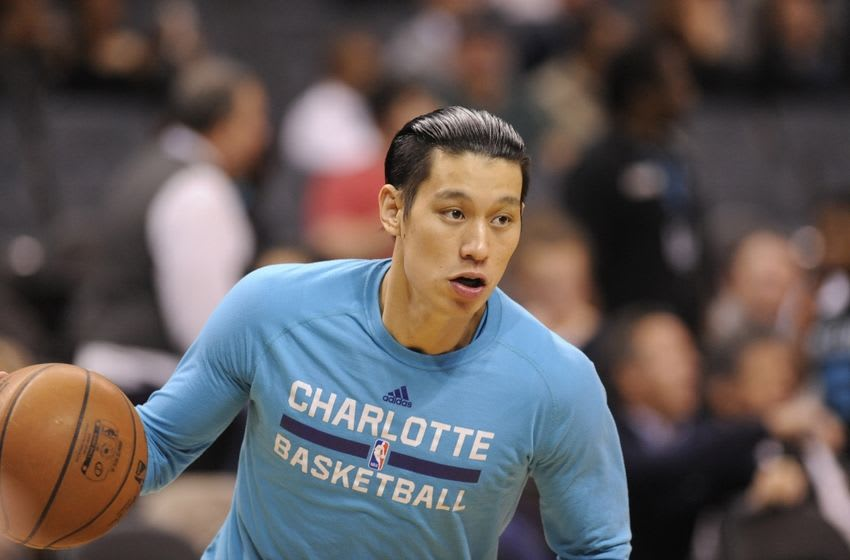 Mar 21, 2016; Charlotte, NC, USA; Charlotte Hornets guard Jeremy Lin (7) warms up before the game against the San Antonio Spurs at Time Warner Cable Arena. Mandatory Credit: Sam Sharpe-USA TODAY Sports