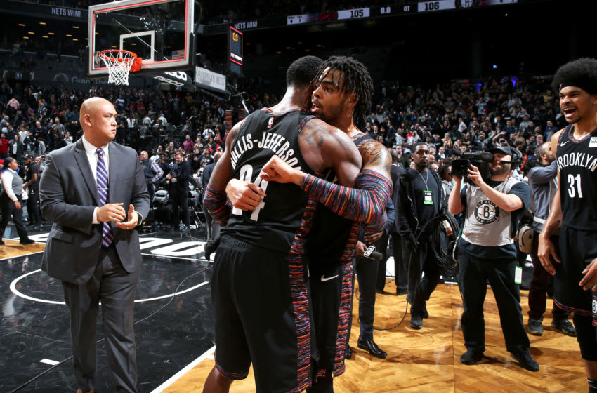 Brooklyn Nets D'Angelo Russell Rondae Hollis-Jefferson. Mandatory Copyright Notice: Copyright 2018 NBAE (Photo by Nathaniel S. Butler/NBAE via Getty Images)