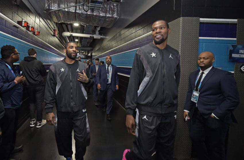 Brooklyn Nets stars Kyrie Irving Kevin Durant. (Photo by Tom O'Connor/NBAE via Getty Images)