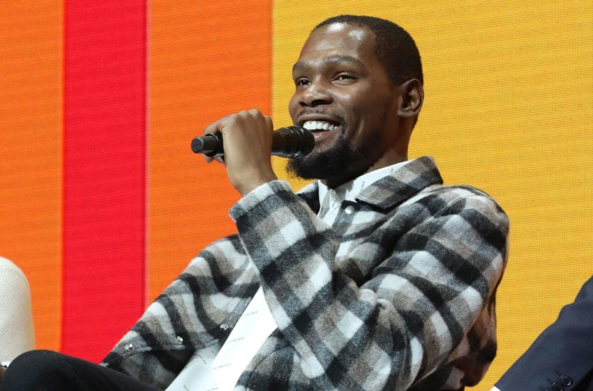DETROIT, MICHIGAN - OCTOBER 28: Kevin Durant speaks during the 2019 Forbes 30 Under 30 Summit at Detroit Masonic Temple on October 29, 2019 in Detroit, Michigan. (Photo by Taylor Hill/Getty Images)