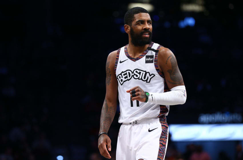 NEW YORK, NEW YORK - JANUARY 31: Kyrie Irving #11 of the Brooklyn Nets in action against the Chicago Bulls at Barclays Center on January 31, 2020 in New York City. NOTE TO USER: User expressly acknowledges and agrees that, by downloading and or using this photograph, User is consenting to the terms and conditions of the Getty Images License Agreement. Brooklyn Nets defeated the Chicago Bulls 133-118. (Photo by Mike Stobe/Getty Images)