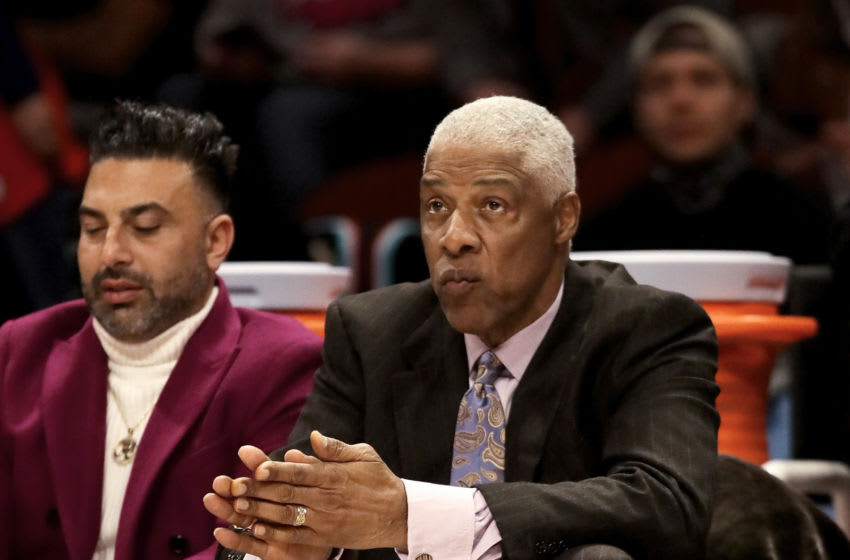 CHICAGO, ILLINOIS - FEBRUARY 15: Julius Erving looks on in the 2020 NBA All-Star - Taco Bell Skills Challenge during State Farm All-Star Saturday Night at the United Center on February 15, 2020 in Chicago, Illinois. NOTE TO USER: User expressly acknowledges and agrees that, by downloading and or using this photograph, User is consenting to the terms and conditions of the Getty Images License Agreement. (Photo by Jonathan Daniel/Getty Images)