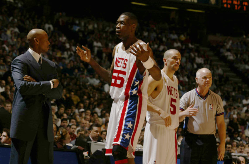 EAST RUTHERFORD, NJ - JUNE 13: Dikembe Mutombo #55 of the New Jersey Nets reacts during game five of the 2003 NBA Finals against the San Antonio Spurs on June 13, 2003 at Continental Airlines Arena in East Rutherford, New Jersey. NOTE TO USER: User expressly acknowledges and agrees that, by downloading and/or using this Photograph, User is consenting to the terms and conditions of the Getty Images License Agreement. (Photo by Noren Trotman/NBAE via Getty Images)