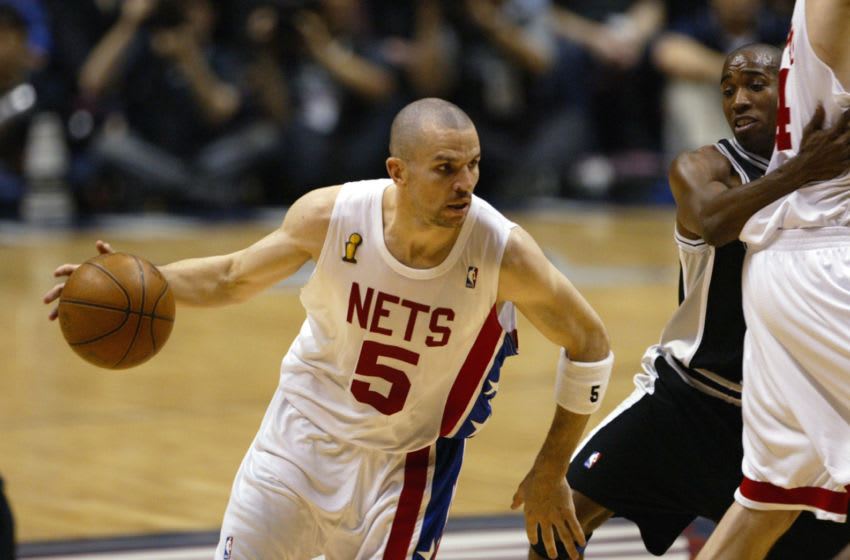 EAST RUTHERFORD, NJ - JUNE 13: Jason Kidd #5 of the New Jersey Nets drives the ball during game five of the 2003 NBA Finals against San Antonio Spurs at Continental Airlines Arena on June 13, 2003 in East Rutherford, New Jersey. The Spurs won 93-83. NOTE TO USER: User expressly acknowledges and agrees that, by downloading and/or using this Photograph, User is consenting to the terms and conditions of the Getty Images License Agreement. Mandatory Copyright Notice: Copyright 2003 NBAE (Photo by Doug Pensinger/Getty Images)