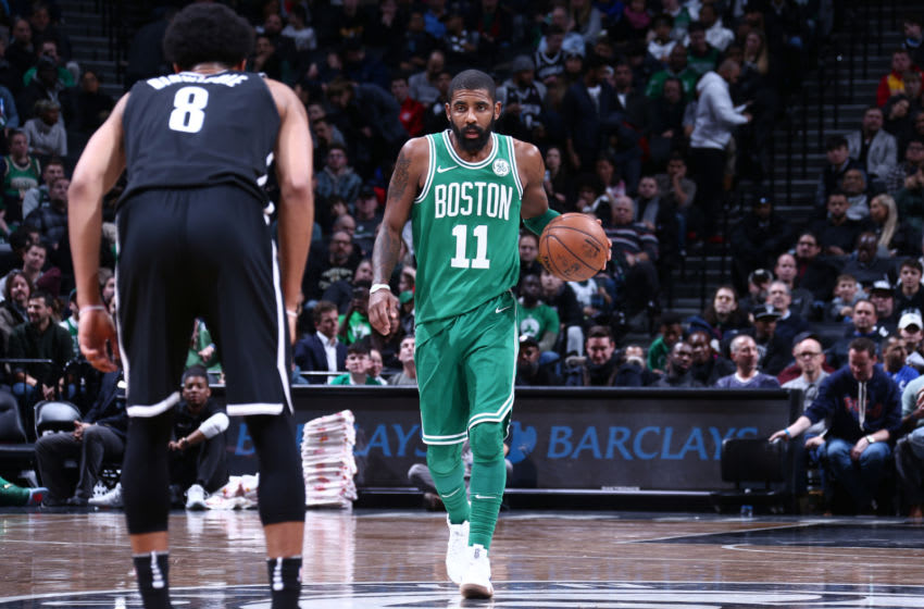 Brooklyn Nets Kyrie Irving. Mandatory Copyright Notice: Copyright 2018 NBAE (Photo by Nathaniel S. Butler/NBAE via Getty Images)