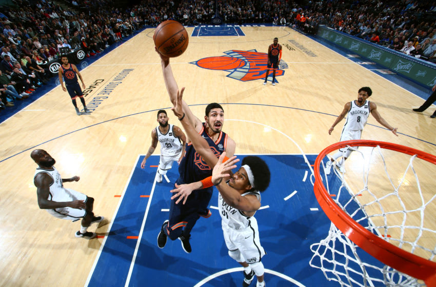 NEW YORK, NY - JANUARY 30: Enes Kanter #00 of the New York Knicks goes to the basket against the Brooklyn Nets on January 30, 2018 at Madison Square Garden in New York City, New York. NOTE TO USER: User expressly acknowledges and agrees that, by downloading and or using this photograph, User is consenting to the terms and conditions of the Getty Images License Agreement. Mandatory Copyright Notice: Copyright 2018 NBAE (Photo by Nathaniel S. Butler/NBAE via Getty Images)