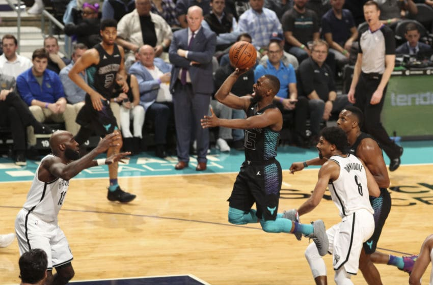CHARLOTTE, NC - FEBRUARY 22: Kemba Walker #15 of the Charlotte Hornets shoots the ball against the Brooklyn Nets on February 22, 2018 at Spectrum Center in Charlotte, North Carolina. NOTE TO USER: User expressly acknowledges and agrees that, by downloading and or using this photograph, User is consenting to the terms and conditions of the Getty Images License Agreement. Mandatory Copyright Notice: Copyright 2018 NBAE (Photo by Brock Williams-Smith/NBAE via Getty Images)
