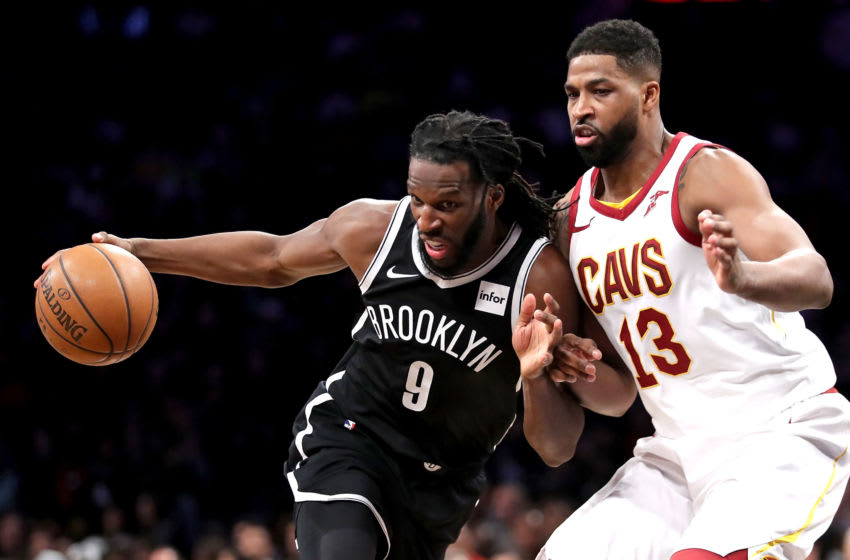 NEW YORK, NY - MARCH 25: DeMarre Carroll #9 of the Brooklyn Nets works against Tristan Thompson #13 of the Cleveland Cavaliers in the first quarter during their game at Barclays Center on March 25, 2018 in the Brooklyn borough of New York City. NOTE TO USER: User expressly acknowledges and agrees that, by downloading and or using this photograph, User is consenting to the terms and conditions of the Getty Images License Agreement. (Photo by Abbie Parr/Getty Images)