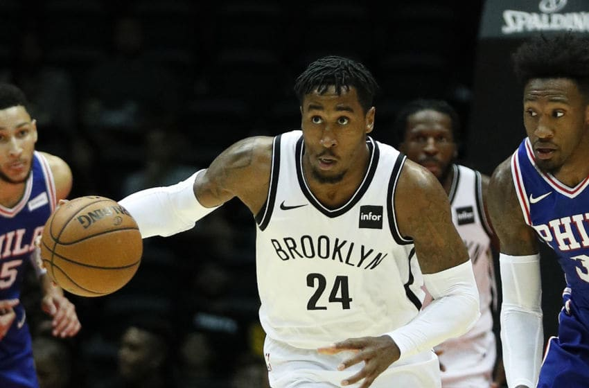 UNIONDALE, NY - OCTOBER 11: Rondae Hollis-Jefferson #24 of the Brooklyn Nets drives with the ball during a preseason NBA basketball game against the Philadelphia 76ers on October 11, 2017 at NYCB LIVE, home of the Nassau Veterans Memorial Coliseum in Uniondale, New York. Nets won 133-114. NOTE TO USER: User expressly acknowledges and agrees that, by downloading and/or using this Photograph, user is consenting to the terms and conditions of the Getty Images License Agreement. (Photo by Paul Bereswill/Getty Images)