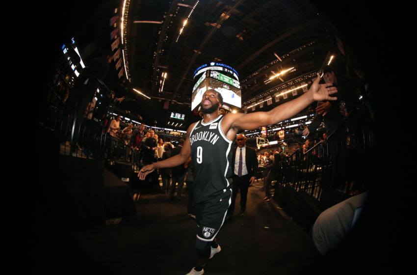 BROOKLYN, NY - MARCH 17: DeMarre Carroll #9 of the Brooklyn Nets celebrates a win against the Dallas Mavericks on March 17, 2018 at Barclays Center in Brooklyn, New York. NOTE TO USER: User expressly acknowledges and agrees that, by downloading and/or using this photograph, user is consenting to the terms and conditions of the Getty Images License Agreement. Mandatory Copyright Notice: Copyright 2018 NBAE (Photo by Nathaniel S. Butler/NBAE via Getty Images)