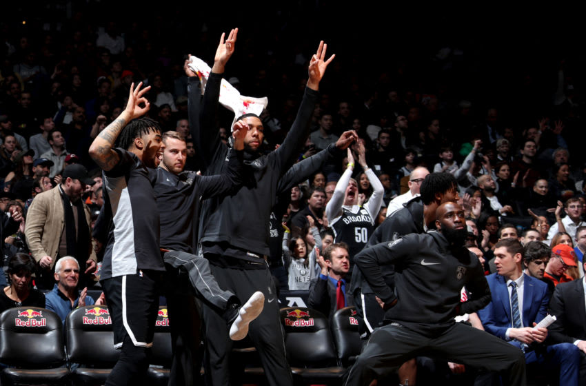 BROOKLYN, NY - MARCH 25: The Brooklyn Nets bench celebrates during the game against the Cleveland Cavaliers on March 25, 2018 at Barclays Center in Brooklyn, New York. NOTE TO USER: User expressly acknowledges and agrees that, by downloading and or using this Photograph, user is consenting to the terms and conditions of the Getty Images License Agreement. Mandatory Copyright Notice: Copyright 2018 NBAE (Photo by Nathaniel S. Butler/NBAE via Getty Images)
