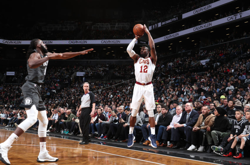 BROOKLYN, NY - MARCH 6: David Nwaba #12 of the Cleveland Cavaliers shoots corner three against the Brooklyn Nets on March 6, 2019 at Barclays Center in Brooklyn, New York. NOTE TO USER: User expressly acknowledges and agrees that, by downloading and or using this Photograph, user is consenting to the terms and conditions of the Getty Images License Agreement. Mandatory Copyright Notice: Copyright 2019 NBAE (Photo by Nathaniel S. Butler/NBAE via Getty Images)