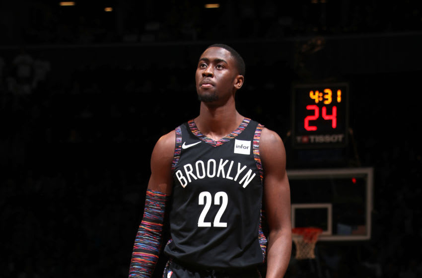 BROOKLYN, NY - APRIL 18: Caris LeVert #22 of the Brooklyn Nets looks on against the Philadelphia 76ers during Game Three of Round One of the 2019 NBA Playoffs on April 18, 2019 at the Barclays Center in Brooklyn, New York. NOTE TO USER: User expressly acknowledges and agrees that, by downloading and/or using this photograph, user is consenting to the terms and conditions of the Getty Images License Agreement. Mandatory Copyright Notice: Copyright 2019 NBAE (Photo by Nathaniel S. Butler/NBAE via Getty Images)