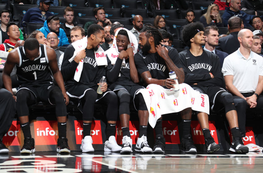 BROOKLYN, NY - OCTOBER 4: Brooklyn Nets bench reacts to play during the game against the Basketball Club of Brazil on October 4, 2019 at Barclays Center in Brooklyn, New York. NOTE TO USER: User expressly acknowledges and agrees that, by downloading and or using this Photograph, user is consenting to the terms and conditions of the Getty Images License Agreement. Mandatory Copyright Notice: Copyright 2019 NBAE (Photo by Nathaniel S. Butler/NBAE via Getty Images)