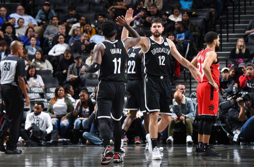 Brooklyn Nets Kyrie Irving Joe Harris (Photo by Brian Babineau/NBAE via Getty Images)