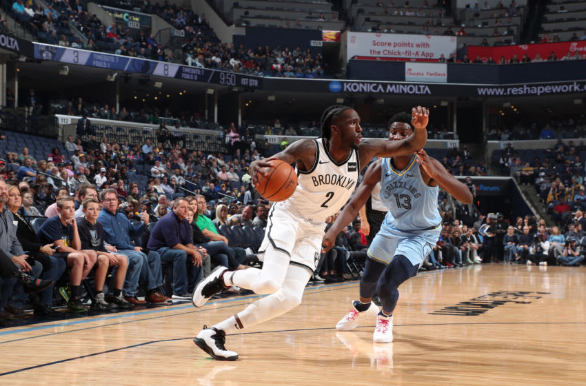 MEMPHIS, TN - OCTOBER 27: Taurean Prince #2 of the Brooklyn Nets handles the ball against the Memphis Grizzlies on October 27, 2019 at FedExForum in Memphis, Tennessee. NOTE TO USER: User expressly acknowledges and agrees that, by downloading and or using this photograph, User is consenting to the terms and conditions of the Getty Images License Agreement. Mandatory Copyright Notice: Copyright 2019 NBAE (Photo by Joe Murphy/NBAE via Getty Images)