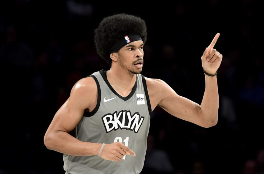 NEW YORK, NEW YORK - NOVEMBER 01: Jarrett Allen #31 of the Brooklyn Nets reacts against the Houston Rockets at Barclays Center on November 01, 2019 in New York City. NOTE TO USER: User expressly acknowledges and agrees that, by downloading and/or using this photograph, user is consenting to the terms and conditions of the Getty Images License Agreement. (Photo by Steven Ryan/Getty Images)