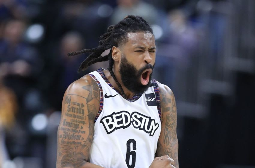INDIANAPOLIS, INDIANA - FEBRUARY 10: DeAndre Jordan #6 of the Brooklyn Nets celebrates late in the fourth quarter of the 106-105 win against the Indiana Pacers at Bankers Life Fieldhouse on February 10, 2020 in Indianapolis, Indiana. NOTE TO USER: User expressly acknowledges and agrees that, by downloading and or using this photograph, User is consenting to the terms and conditions of the Getty Images License Agreement. (Photo by Andy Lyons/Getty Images)