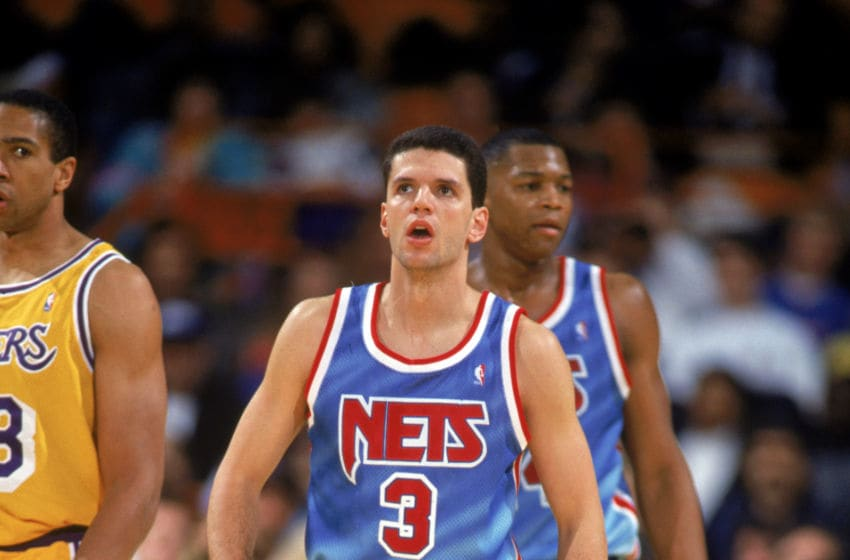 INGLEWOOD, CA - 1990-91: Drazen Petrovic #3 of the New Jersey Nets stands on the court during a 1990-91 season game against the Los Angeles Lakers at the Great Western Forum in Inglewood, California. NOTE TO USER: User expressly acknowledges and agress that, by downloading and or using this photograph, User is consenting to the terms and conditions of the Getty Images License Agreement. (Photo by Ken Levine/Getty Images)