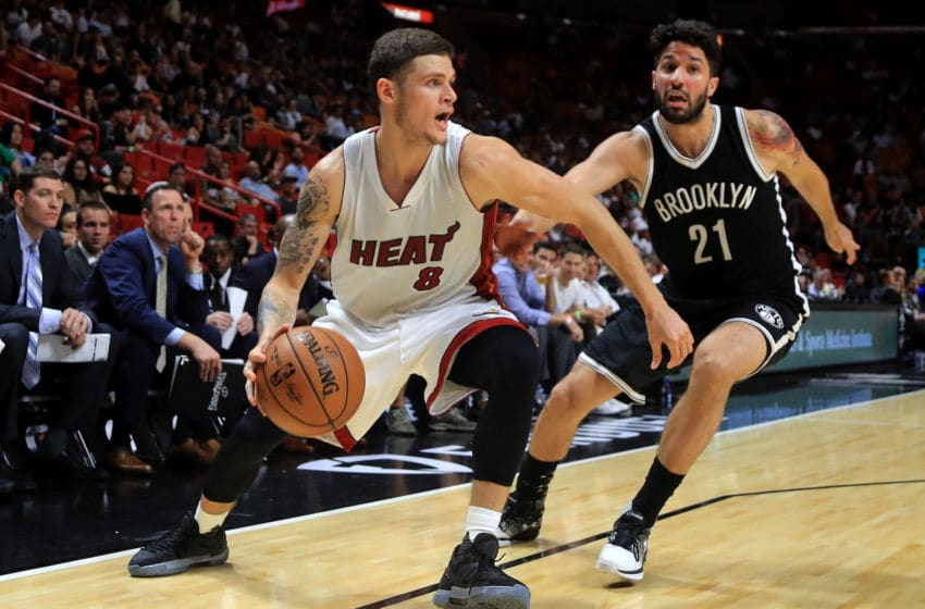 Tyler Johnson going up against the Brooklyn Nets (Photo by Mike Ehrmann/Getty Images)