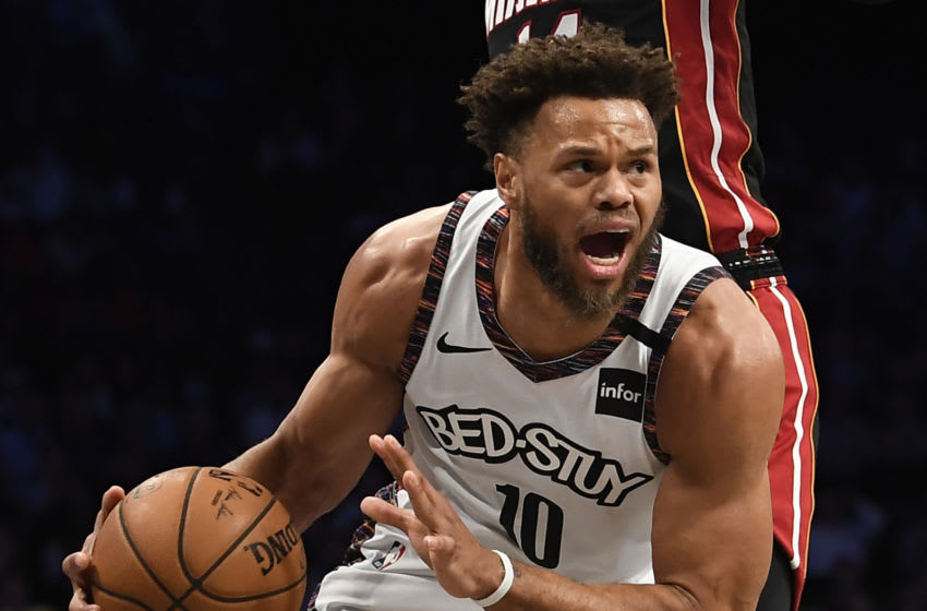 NEW YORK, NEW YORK - JANUARY 10: Justin Anderson #10 of the Brooklyn Nets dribbles the ball during the first half of the game against the Miami Heat at Barclays Center on January 10, 2020 in the Brooklyn borough of New York City. NOTE TO USER: User expressly acknowledges and agrees that, by downloading and or using this photograph, User is consenting to the terms and conditions of the Getty Images License Agreement. (Photo by Sarah Stier/Getty Images)