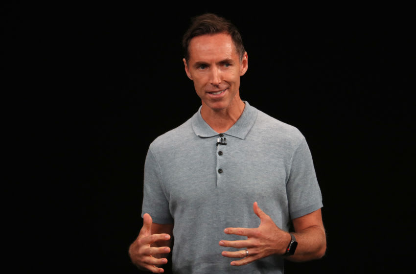 Former NBA player Steve Nash speaks at an Apple event at the Steve Jobs Theater at Apple Park on September 12, 2018 in Cupertino, California. Apple is expected to announce new iPhones with larger screens as well as other product upgrades. (Photo by Justin Sullivan/Getty Images)