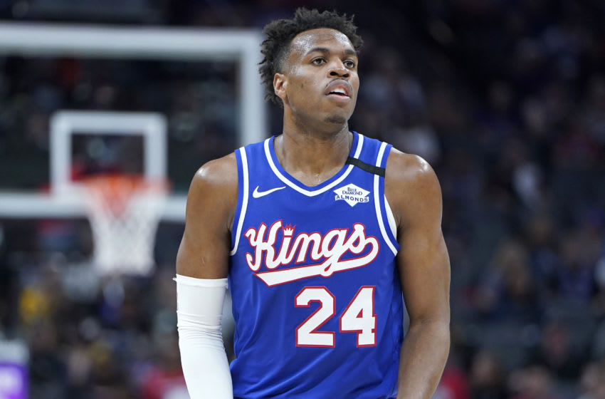 SACRAMENTO, CALIFORNIA - MARCH 05: Buddy Hield #24 of the Sacramento Kings looks on against the Philadelphia 76ers during the second half of an NBA basketball game at Golden 1 Center on March 05, 2020 in Sacramento, California. NOTE TO USER: User expressly acknowledges and agrees that, by downloading and or using this photograph, User is consenting to the terms and conditions of the Getty Images License Agreement. (Photo by Thearon W. Henderson/Getty Images)