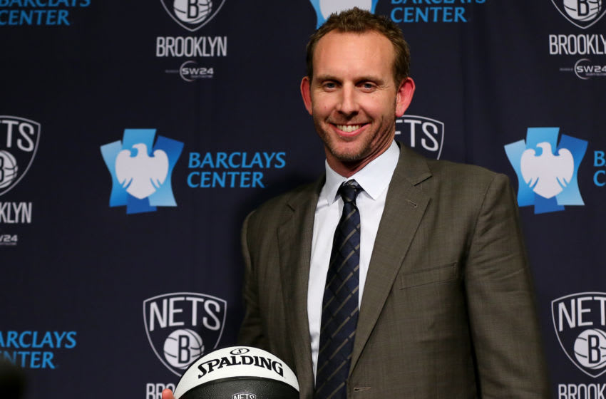NEW YORK, NY - FEBRUARY 19: Sean Marks, the General Manager of the Brooklyn Nets poses with a ball after a press conference announcing his arrival at Barclays Center on February 19, 2016 in the Brooklyn borough of New York City. NOTE TO USER: User expressly acknowledges and agrees that, by downloading and or using this photograph, User is consenting to the terms and conditions of the Getty Images License Agreement. (Photo by Elsa/Getty Images)