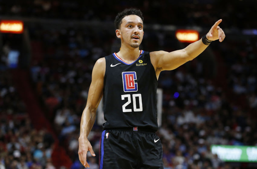 MIAMI, FLORIDA - JANUARY 24: Landry Shamet #20 of the LA Clippers in action against the Miami Heat during the first half at American Airlines Arena on January 24, 2020 in Miami, Florida. NOTE TO USER: User expressly acknowledges and agrees that, by downloading and/or using this photograph, user is consenting to the terms and conditions of the Getty Images License Agreement. (Photo by Michael Reaves/Getty Images)