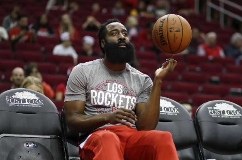 HOUSTON, TEXAS - MARCH 10: James Harden #13 of the Houston Rockets warms up before the game against the Minnesota Timberwolves at Toyota Center on March 10, 2020 in Houston, Texas. NOTE TO USER: User expressly acknowledges and agrees that, by downloading and or using this photograph, User is consenting to the terms and conditions of the Getty Images License Agreement. (Photo by Tim Warner/Getty Images)