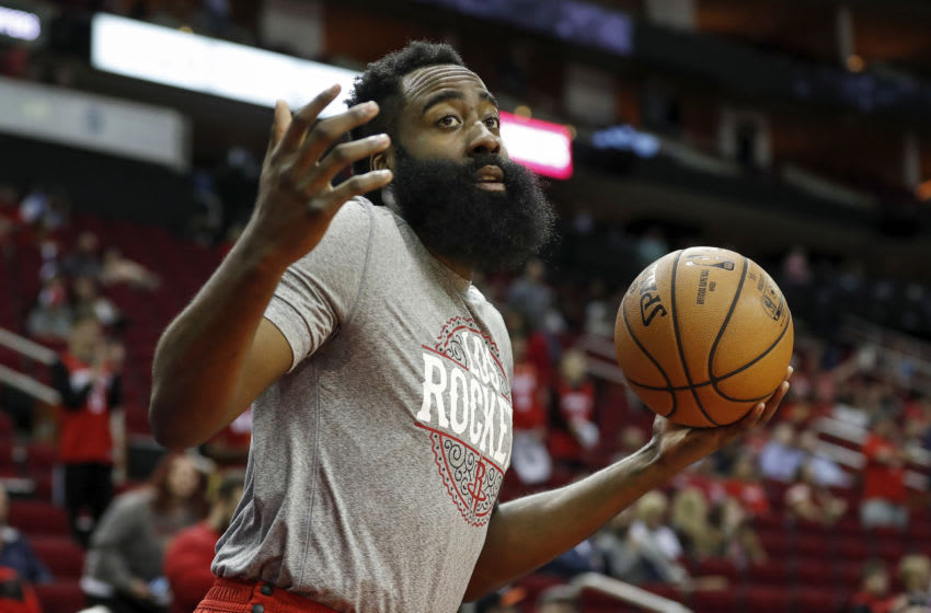 HOUSTON, TEXAS - MARCH 05: James Harden #13 of the Houston Rockets reacts before the game against the LA Clippers at Toyota Center on March 05, 2020 in Houston, Texas. NOTE TO USER: User expressly acknowledges and agrees that, by downloading and or using this photograph, User is consenting to the terms and conditions of the Getty Images License Agreement. (Photo by Tim Warner/Getty Images)