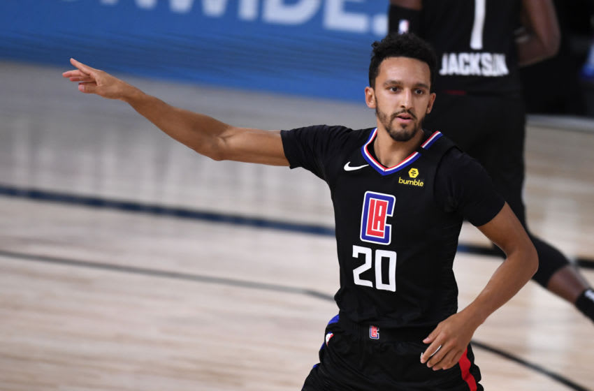 LAKE BUENA VISTA, FLORIDA - SEPTEMBER 03: Landry Shamet #20 of the LA Clippers reacts during the second half against the Denver Nuggets on September 03, 2020 in Lake Buena Vista, Florida. (Photo by Douglas P. DeFelice/Getty Images)