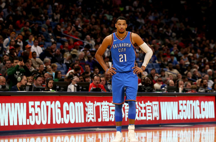 NEW ORLEANS, LA - NOVEMBER 20: Andre Roberson #21 of the Oklahoma City Thunder (Photo by Sean Gardner/Getty Images)