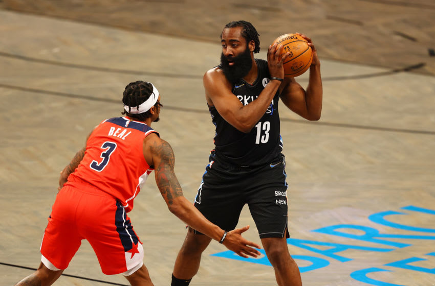 NEW YORK, NEW YORK - MARCH 21: James Harden #13 of the Brooklyn Nets (Photo by Mike Stobe/Getty Images)