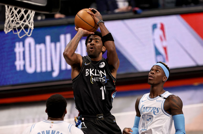 NEW YORK, NEW YORK - APRIL 10: Kyrie Irving #11 of the Brooklyn Nets (Photo by Elsa/Getty Images)