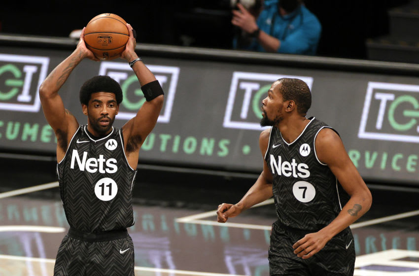 NEW YORK, NEW YORK - APRIL 16: Kyrie Irving #11 of the Brooklyn Nets (Photo by Sarah Stier/Getty Images)
