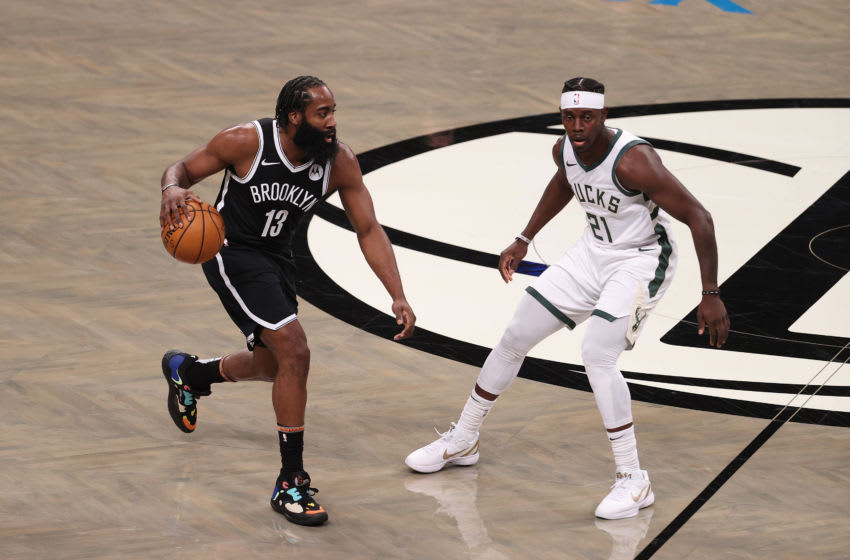 NEW YORK, NEW YORK - JANUARY 18: James Harden #13 of the Brooklyn Nets (Photo by Al Bello/Getty Images)